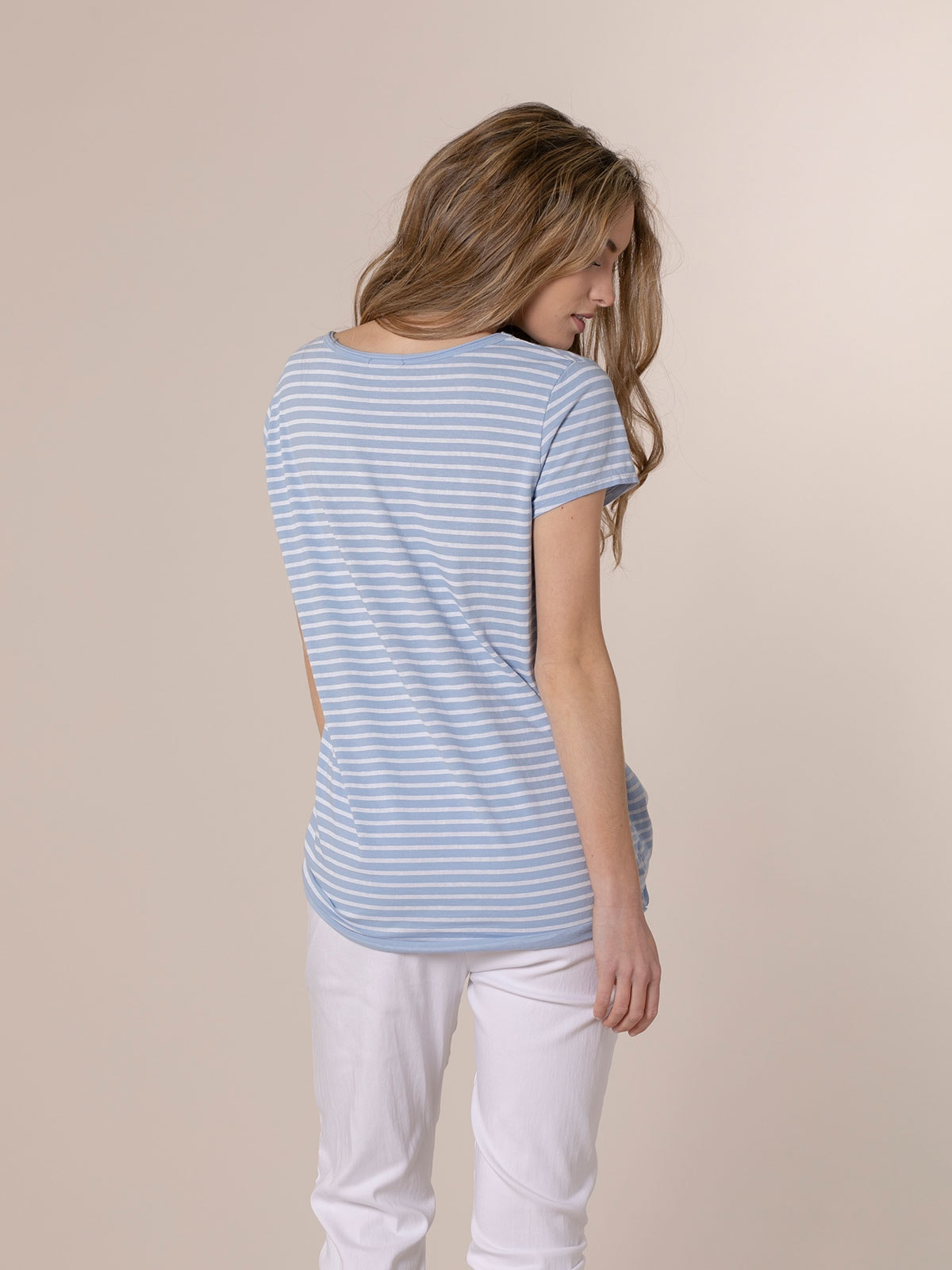 Camiseta mujer rayas algodón Azul