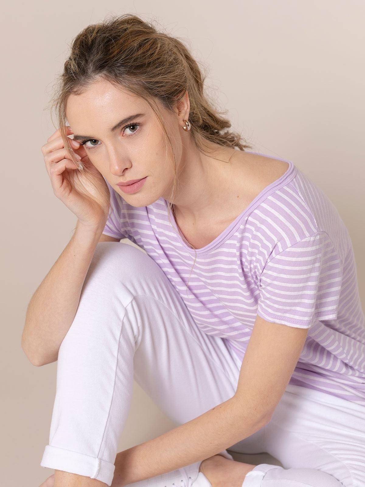 Woman Striped cotton T-shirt Lila