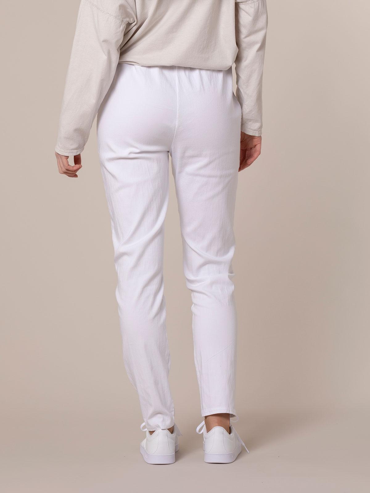 Woman Stretch cotton sport trousers White