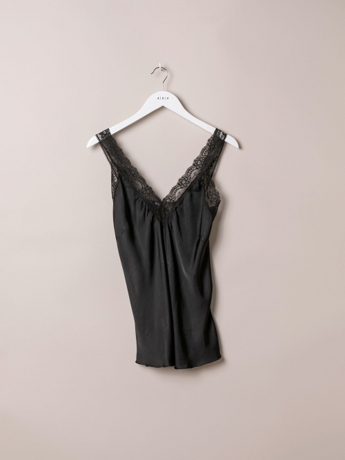 Woman Gathered lingerie top Black