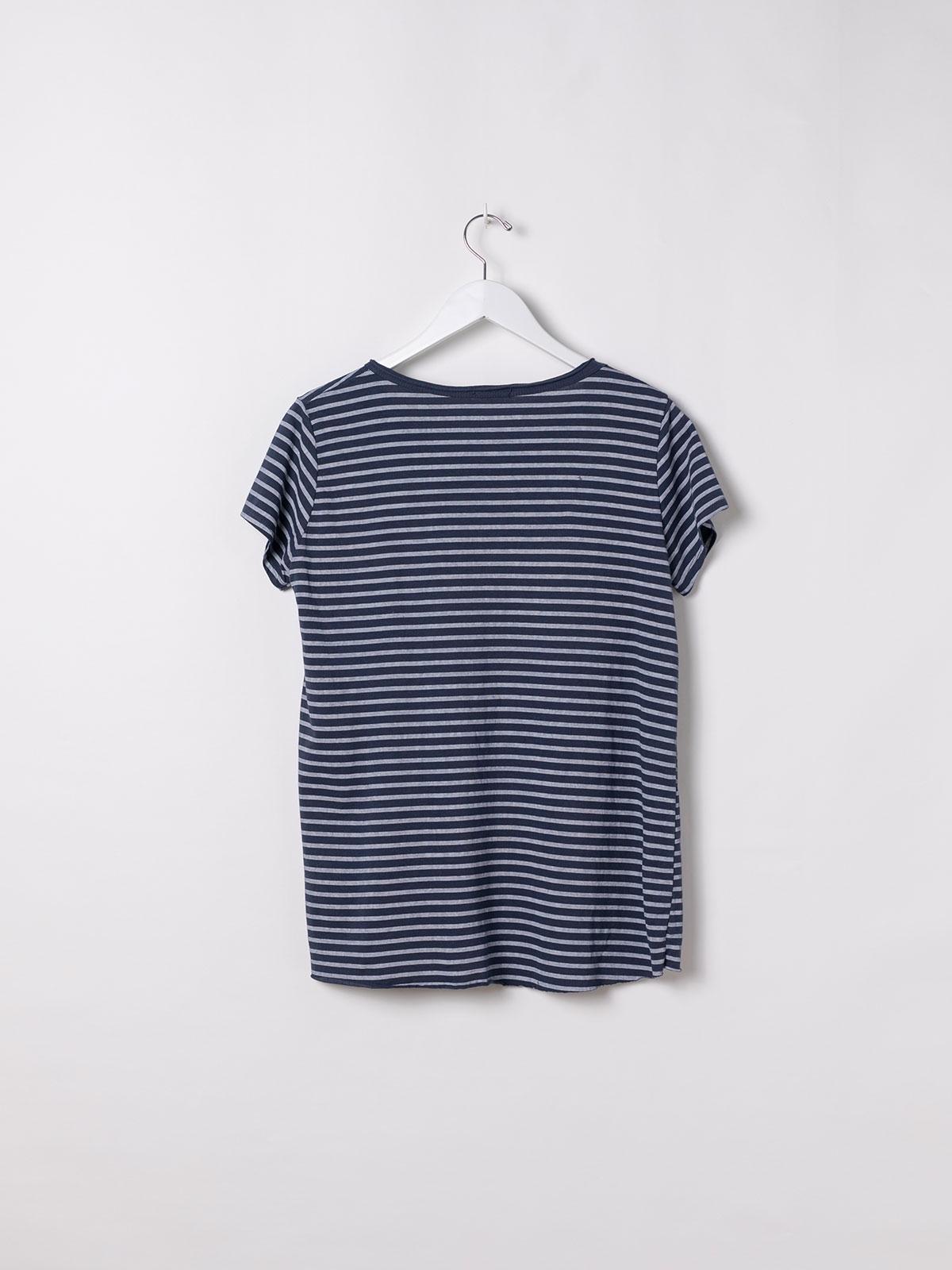 Woman Striped cotton T-shirt Blue Navy