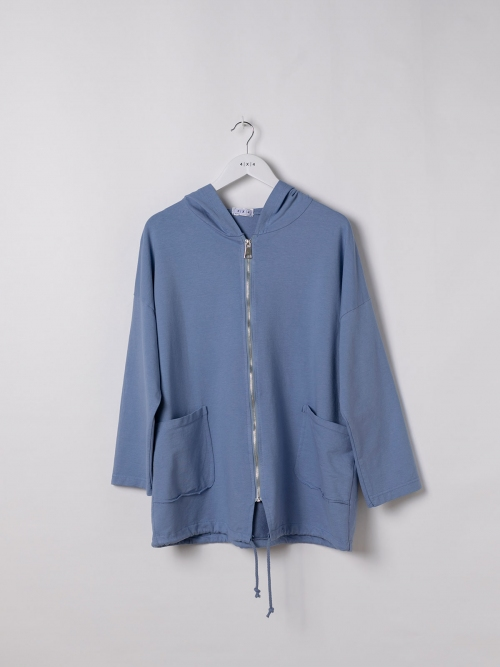 Woman Zip-up sweatshirt with pockets Blue