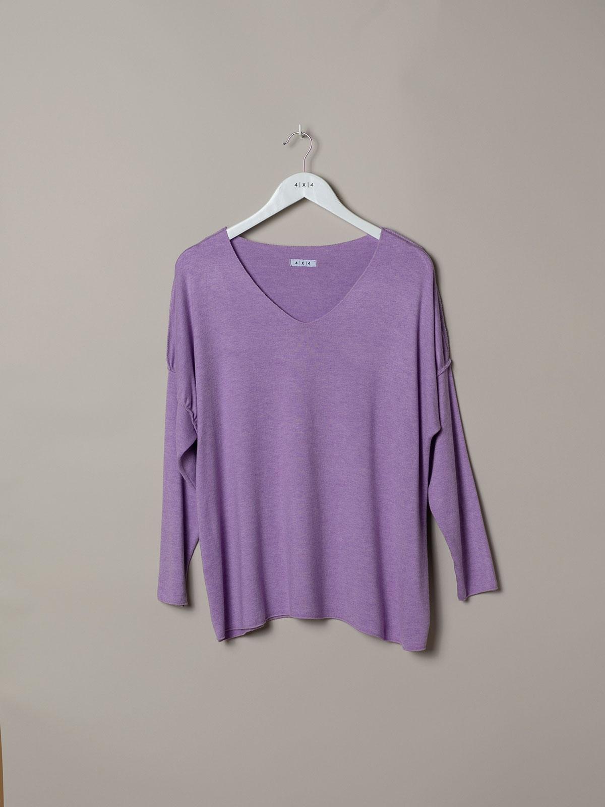 Camiseta mujer punto costuras Lila