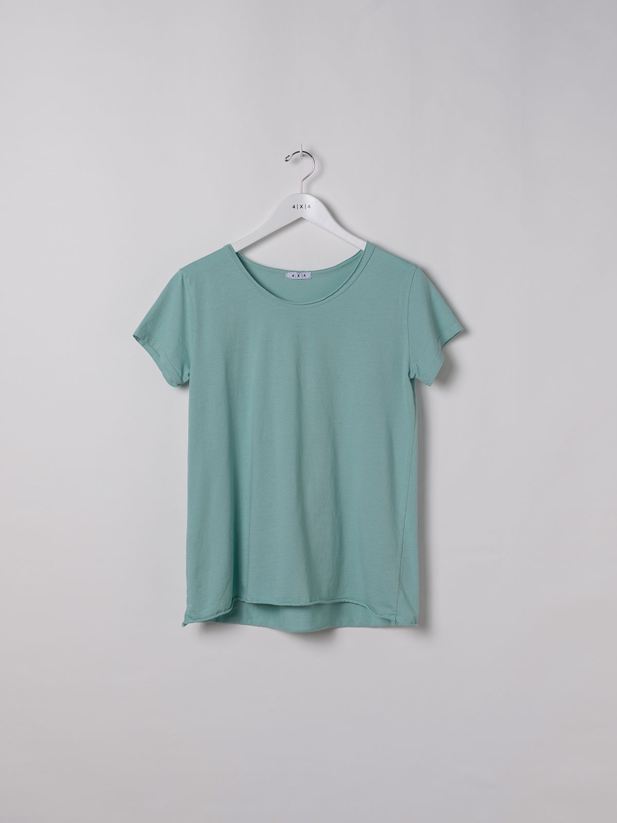 Woman Plain cotton T-shirt Aqua