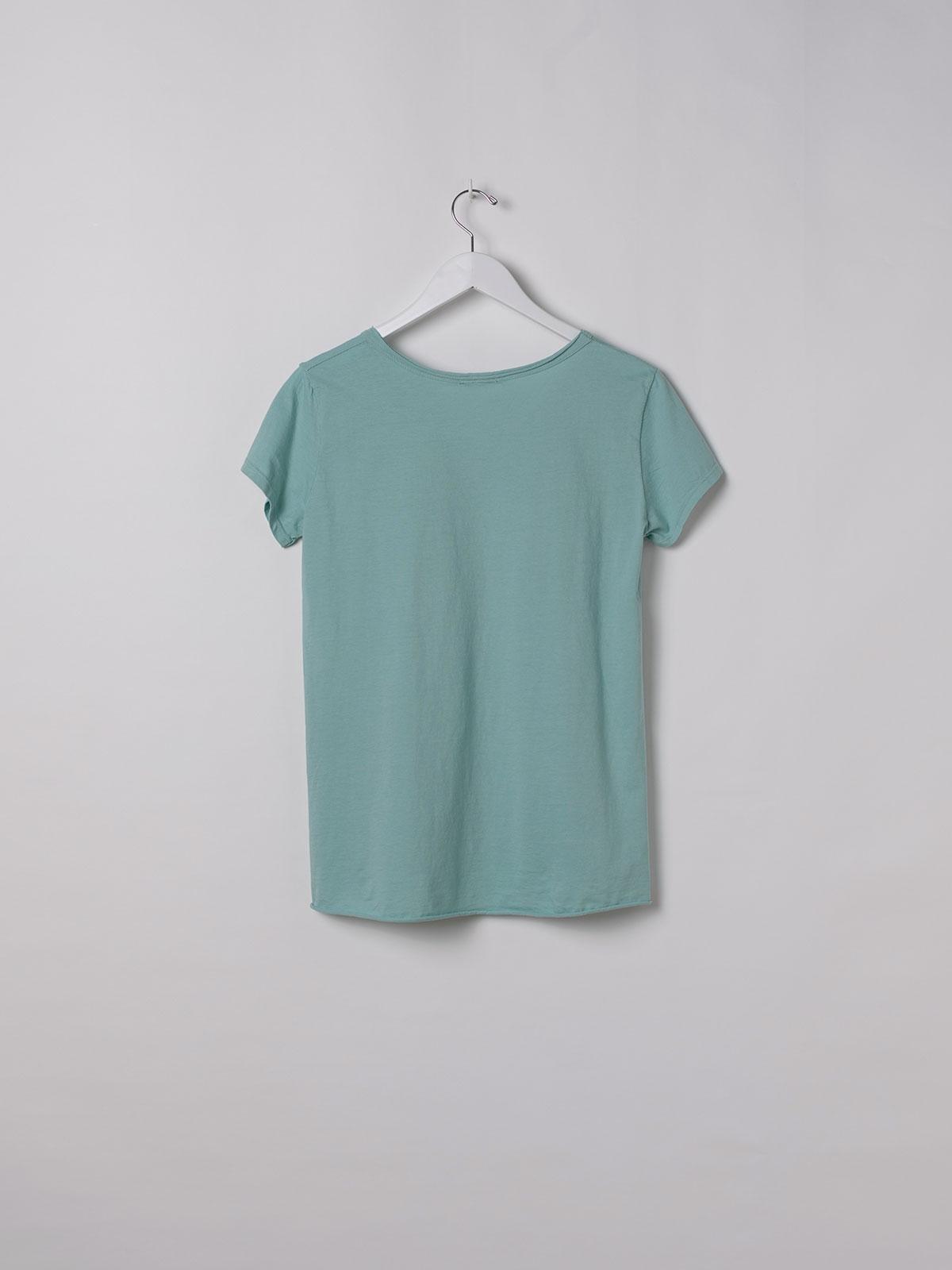 Camiseta mujer lisa algodón Aqua