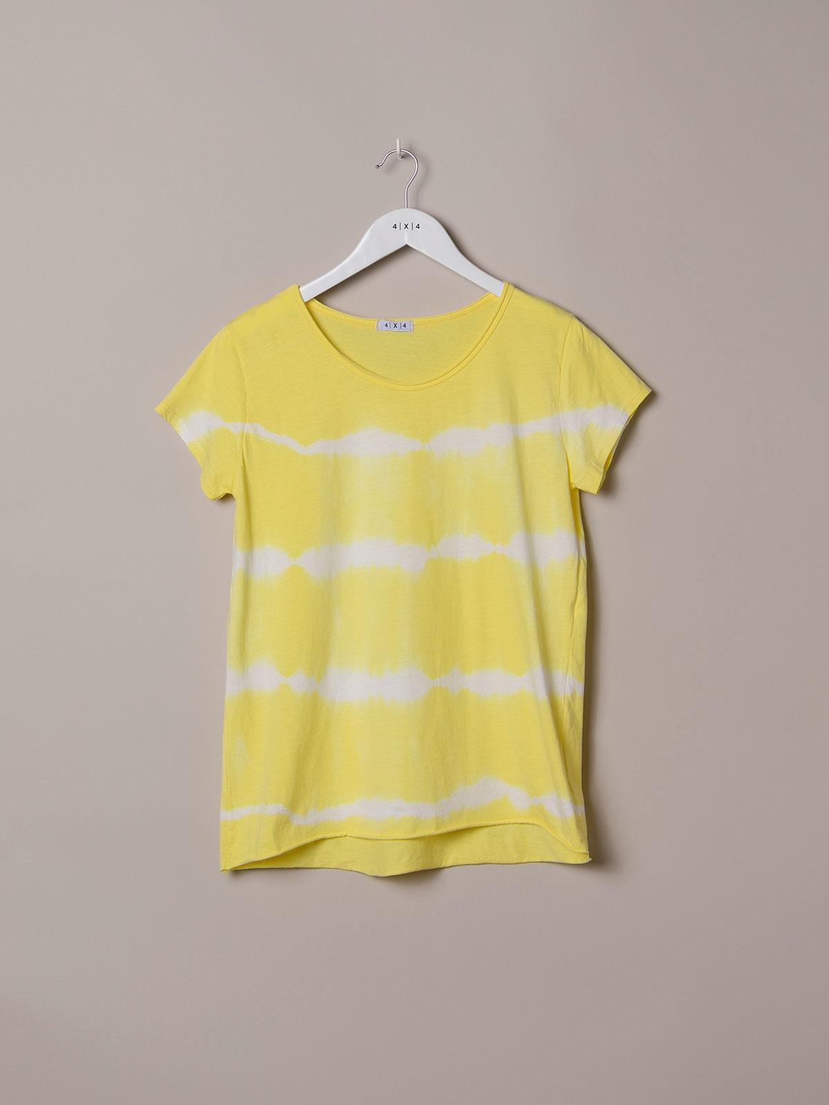Camiseta mujer tie & dye manga corta Amarillo