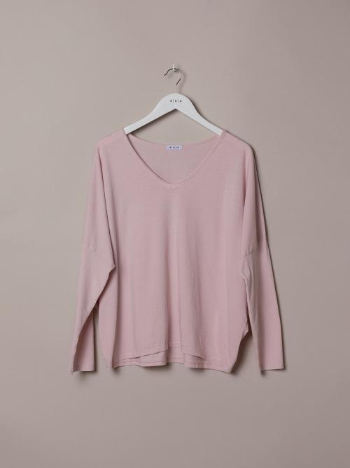 Camiseta mujer algodón lisa cuello pico Rosa