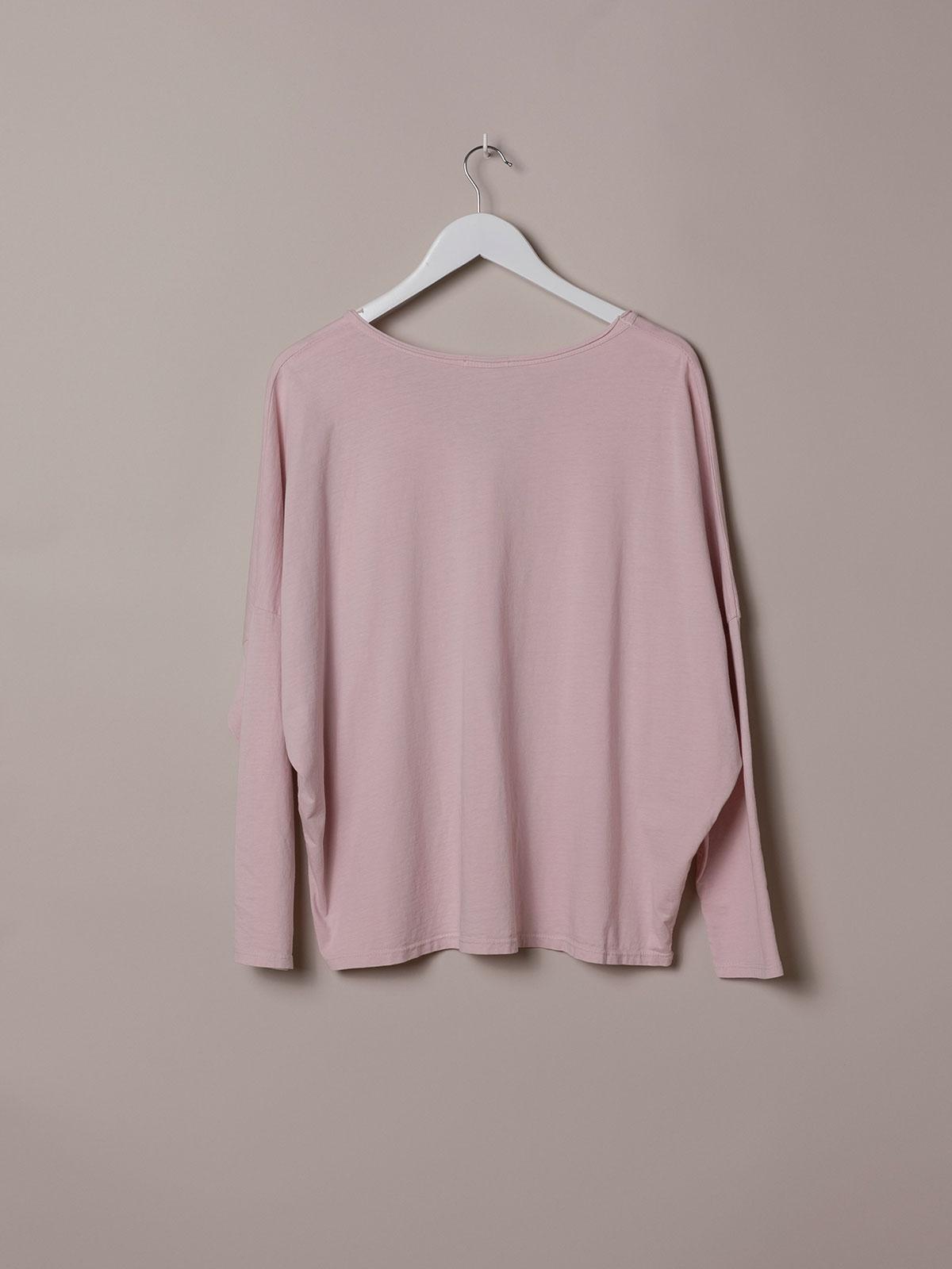 Woman Plain cotton V-neck T-shirt Pink