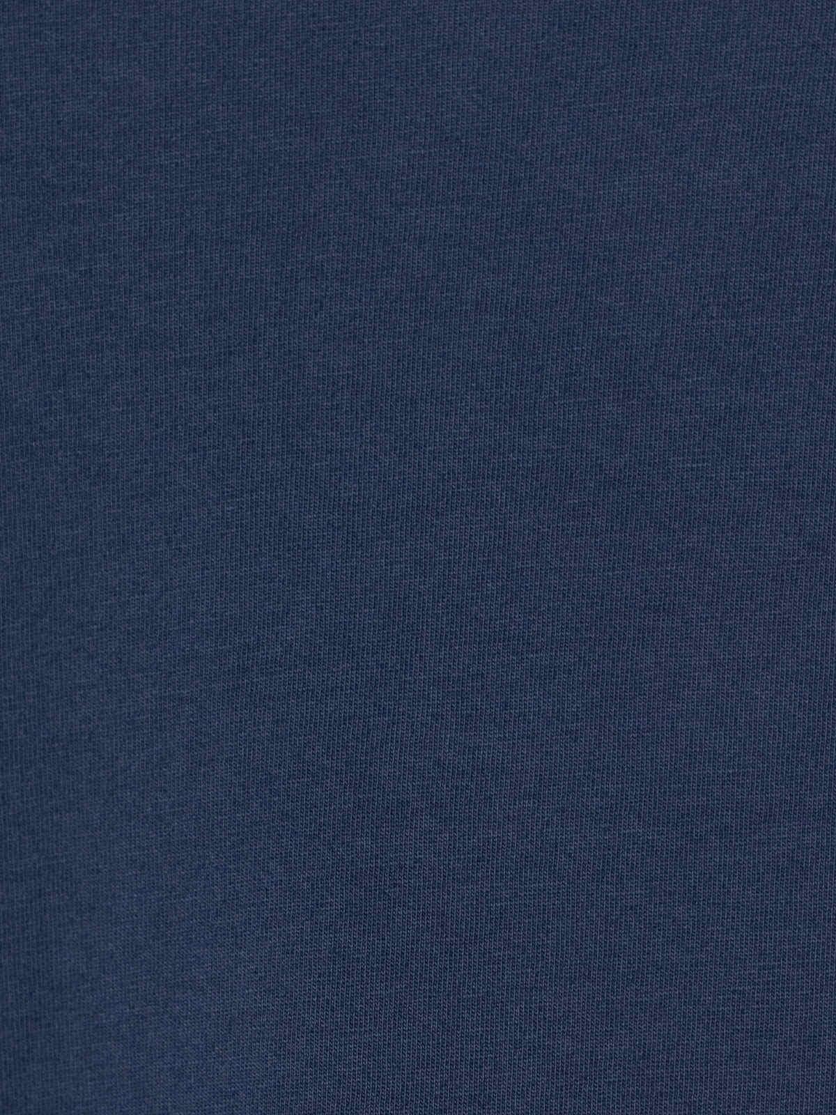 Woman Plain cotton V-neck T-shirt Blue Navy