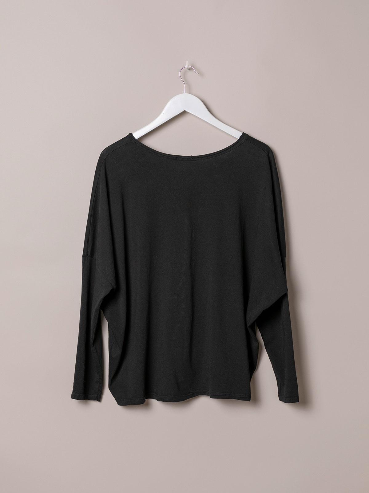 Camiseta mujer algodón lisa cuello pico Negro