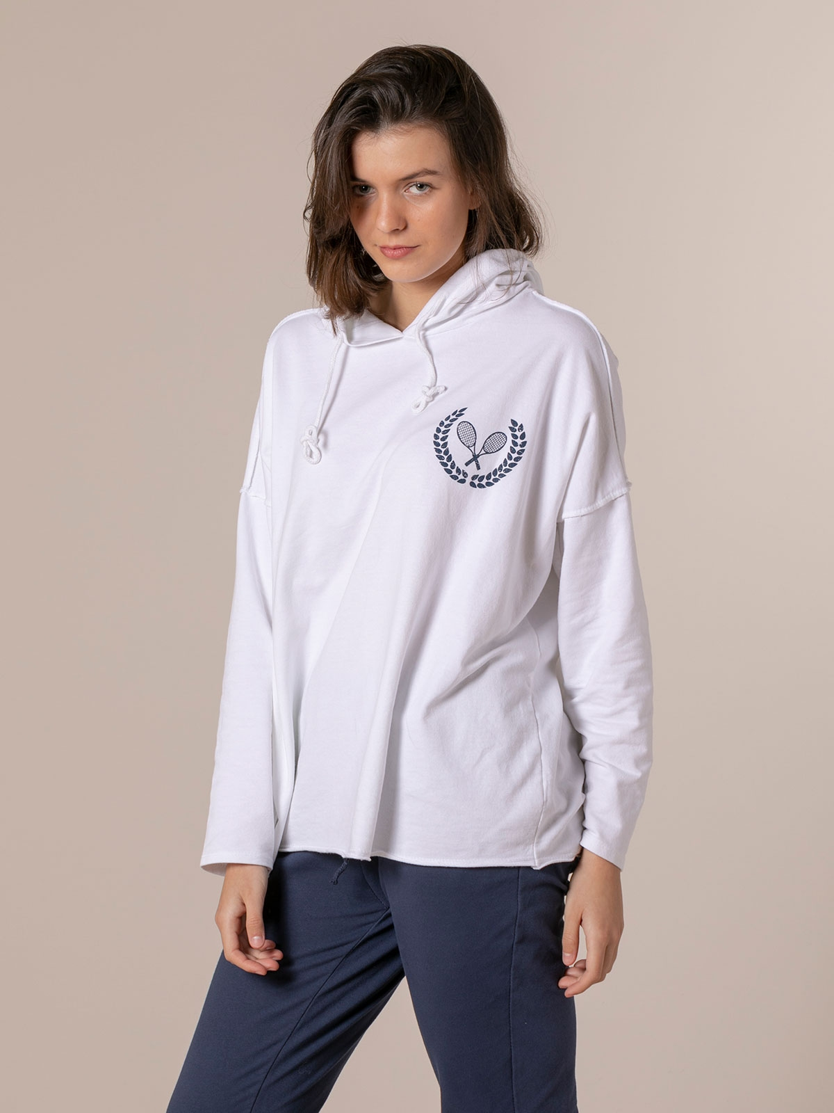 Woman Retro rackets oversize sweatshirt White