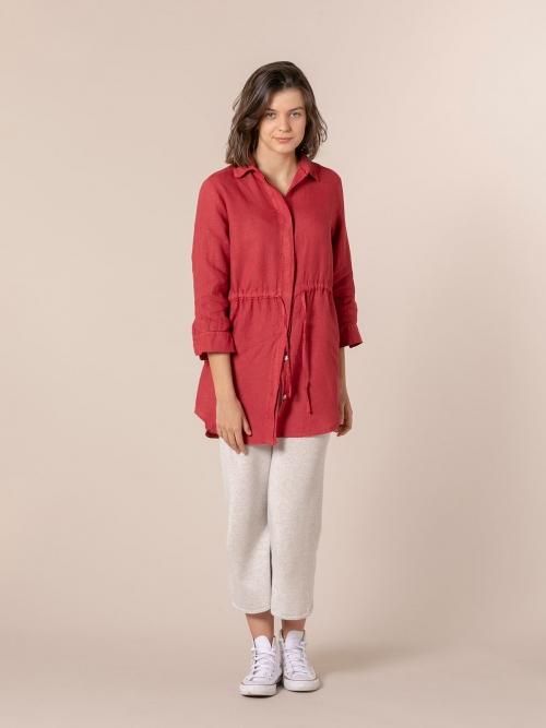 Camisa lino mujer con cinturon Rojo