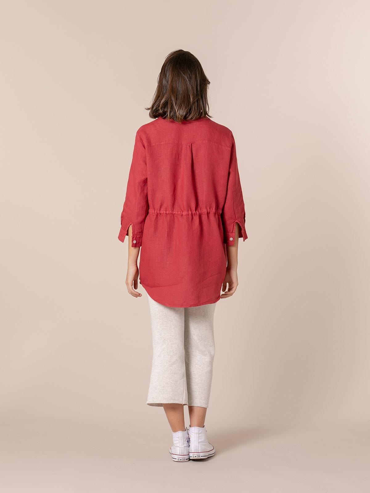 Woman Linen shirt with belt Red