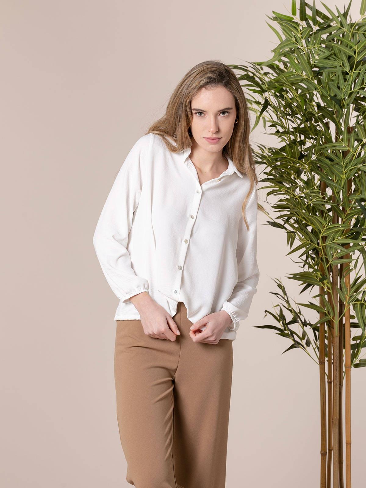 Woman Flowy shirt with drawstring detail White
