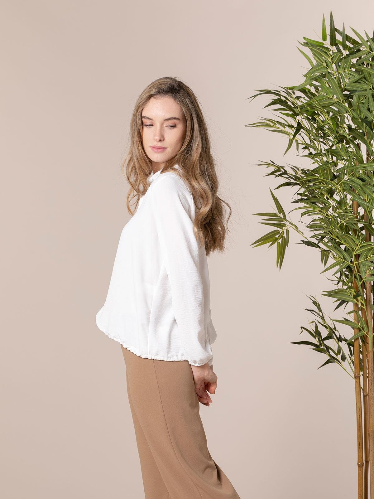 Camisa fluida mujer detalle cordón Blanco