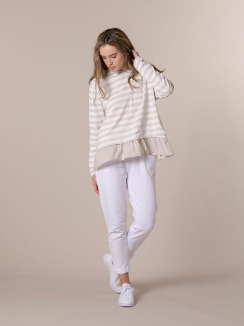 Woman Striped sweatshirt with hem detail Beige