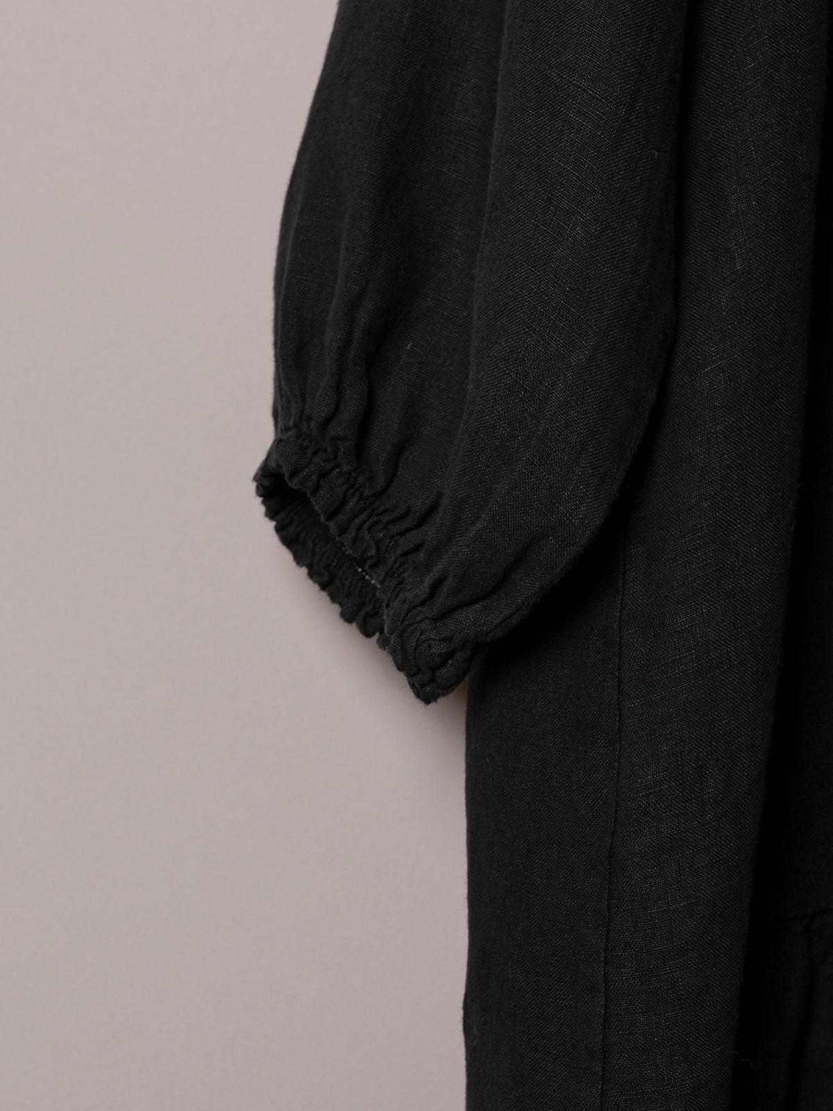 Vestido lino manga larga detalle Negro