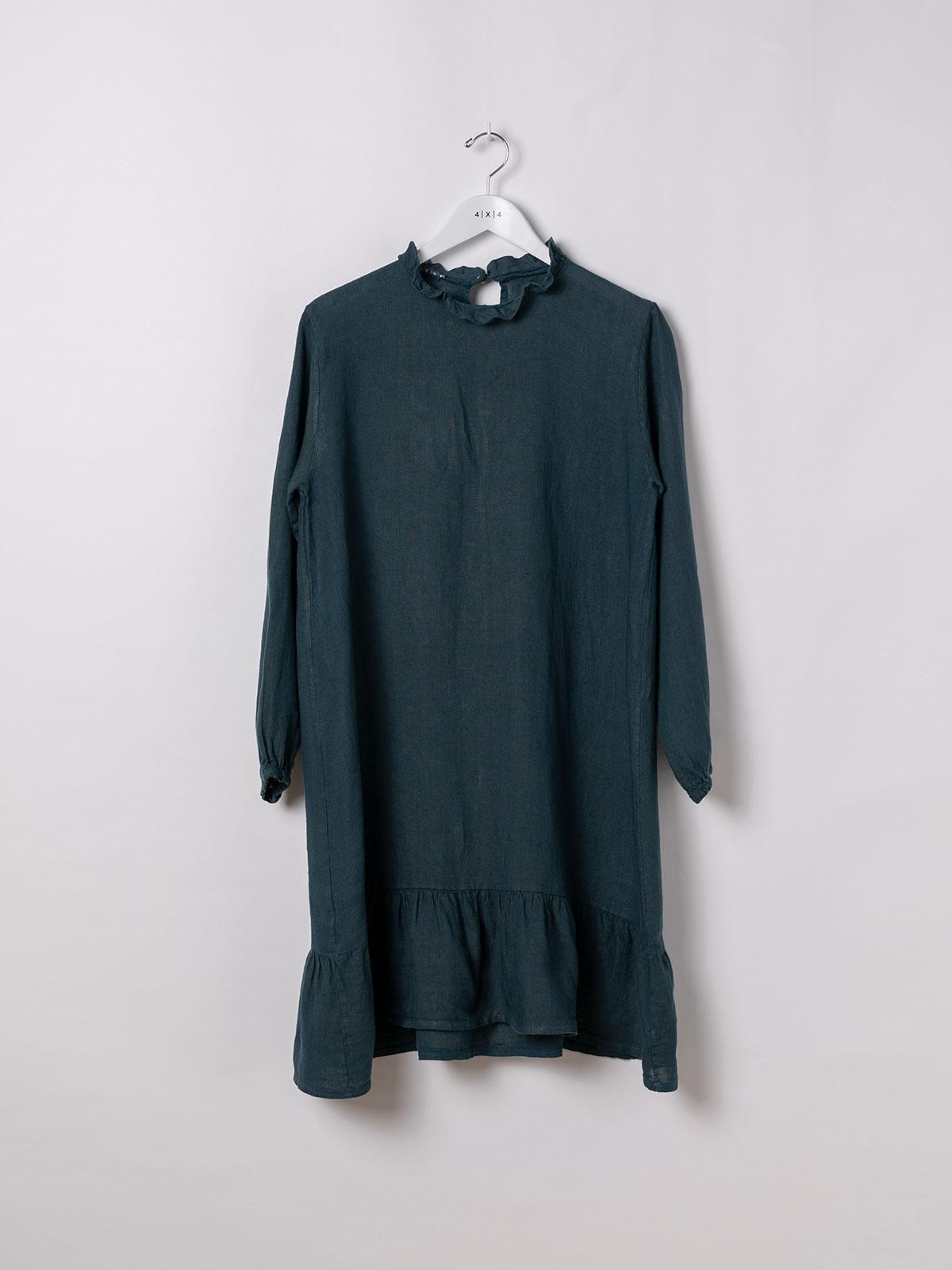 Vestido lino manga larga detalle azul oscuro