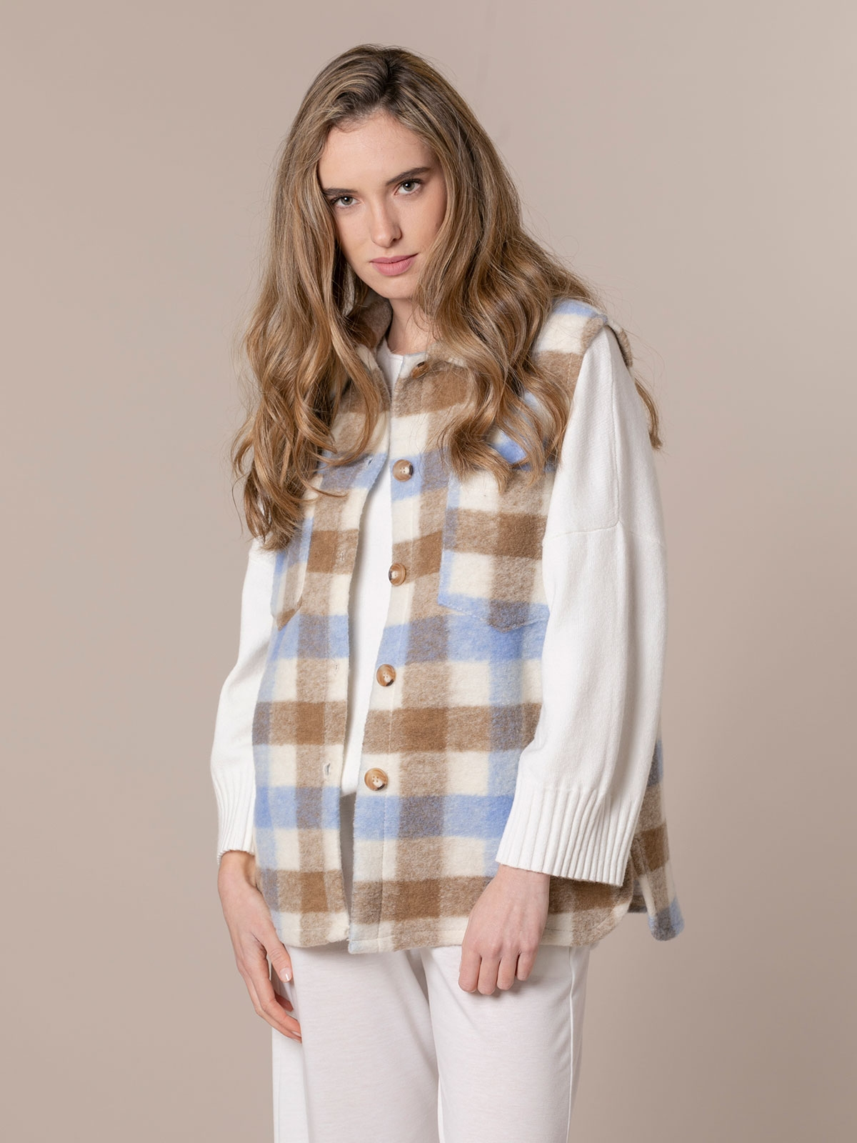 Woman Trendy checked soft vest Blue