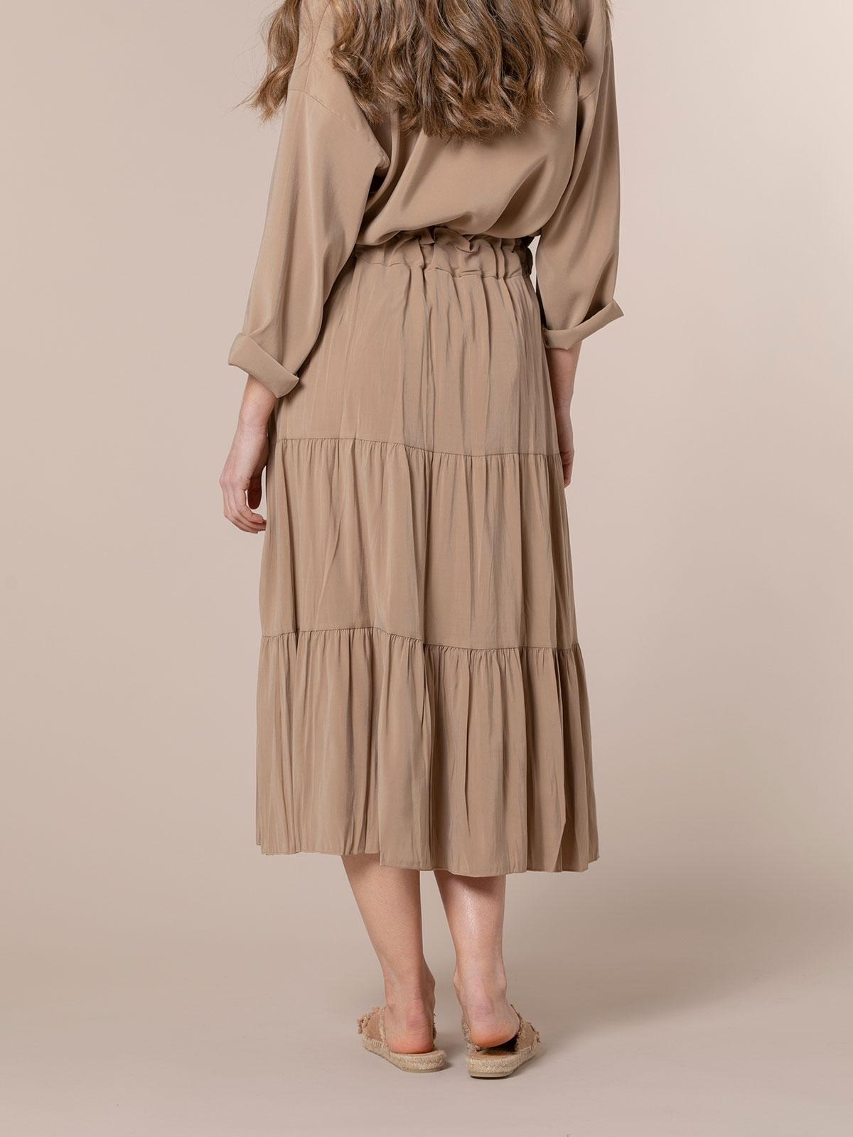Falda midi cortes Camel