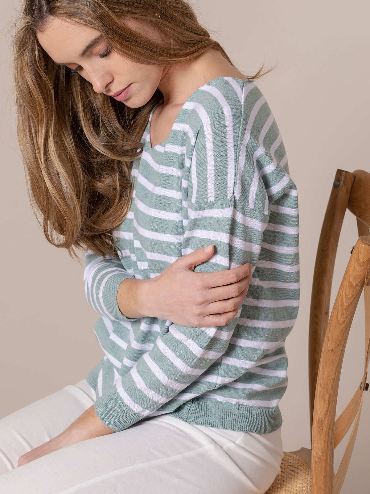 Woman light striped sweater Green