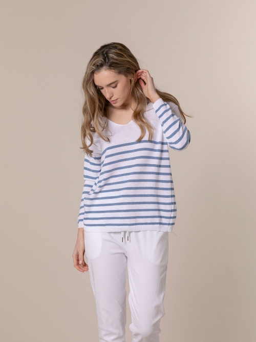 Woman Lightweight knit sweater with striped hem Blue