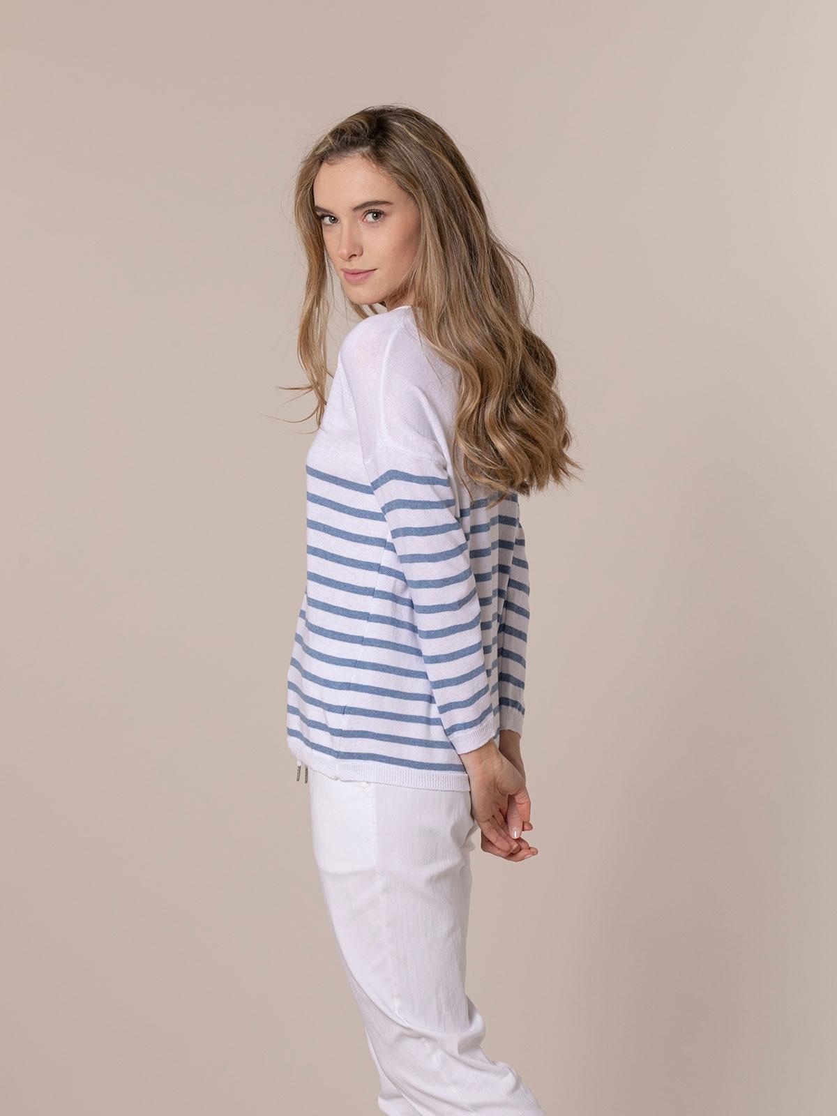 Woman Lightweight knit sweater with striped hem Blue
