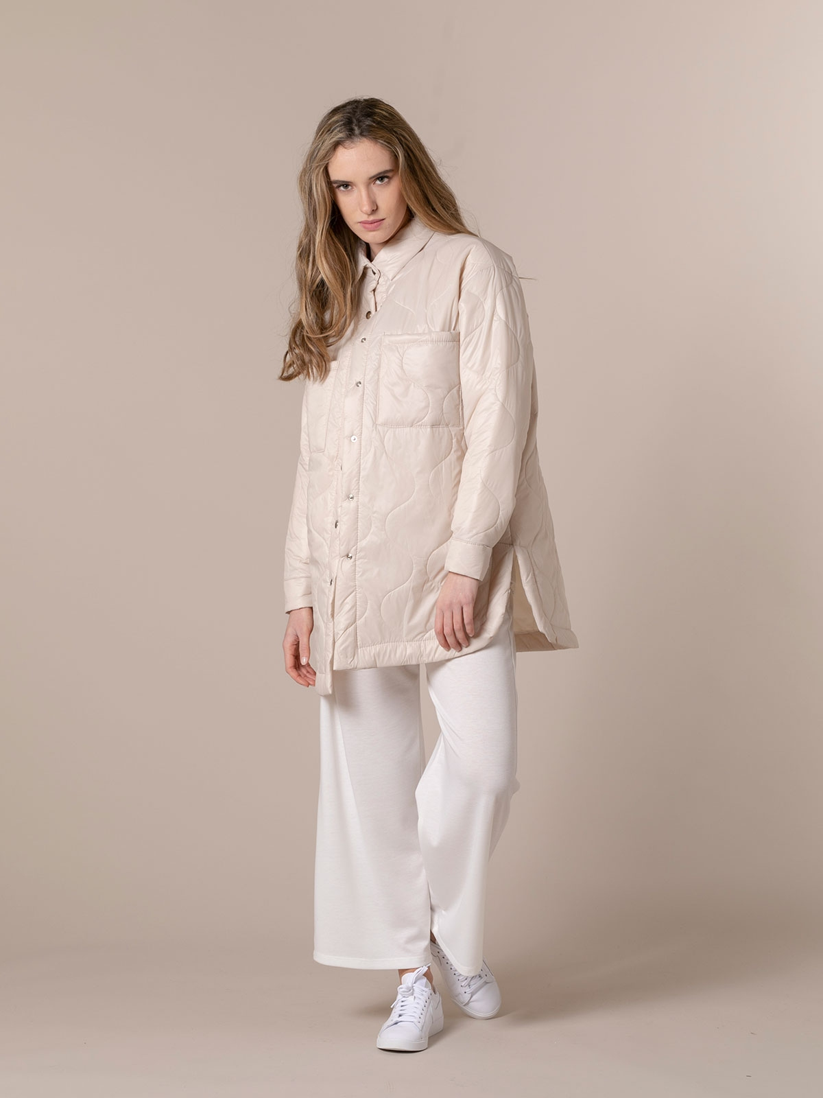 Woman Trendy padded parka Beige