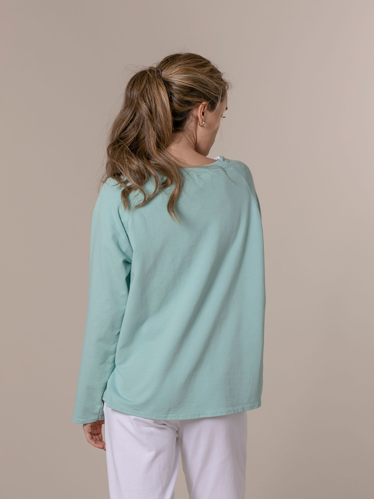 Woman 1981 vintage plain sweatshirt Aqua