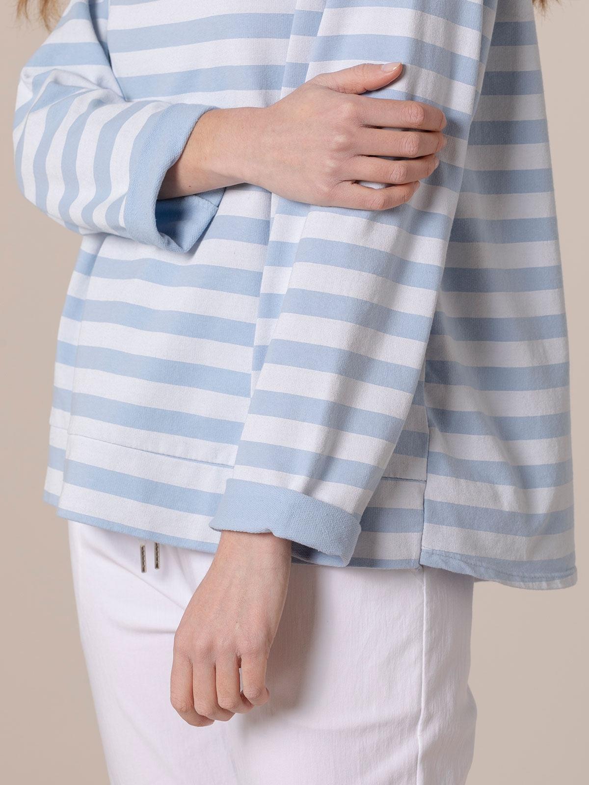 Woman Striped boat neck sweatshirt Blue