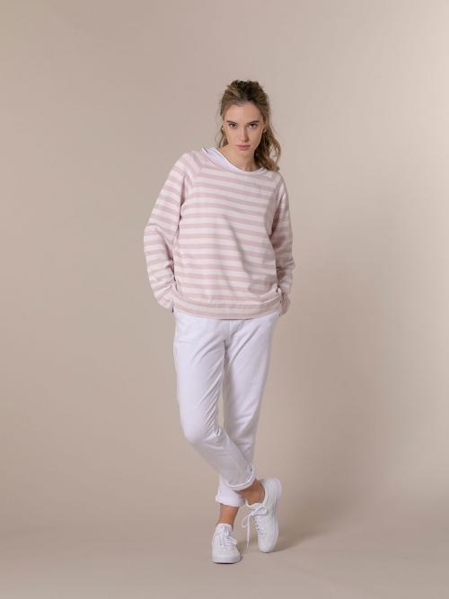Woman Striped boat neck sweatshirt Pink