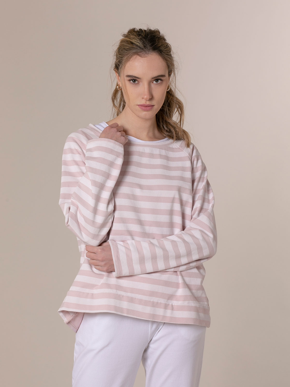 Woman Striped boat neck sweatshirt Pink