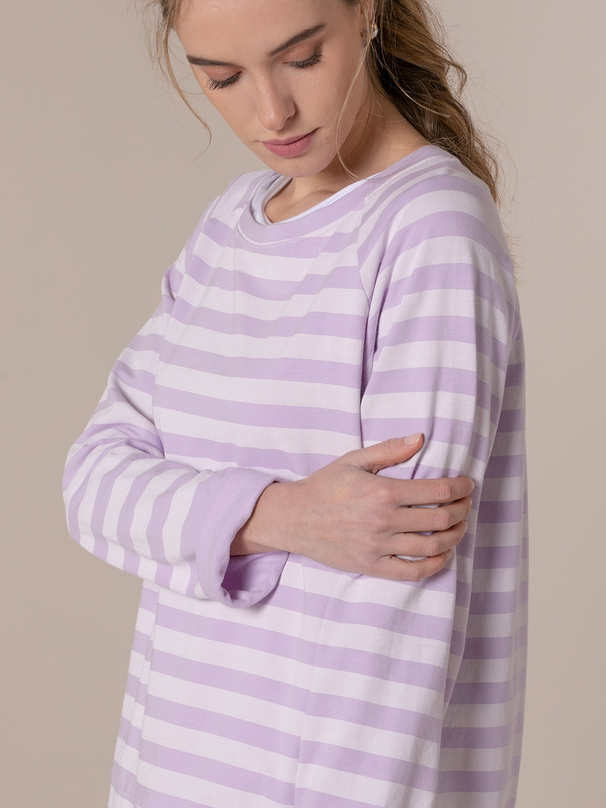 Woman Striped boat neck sweatshirt Lila