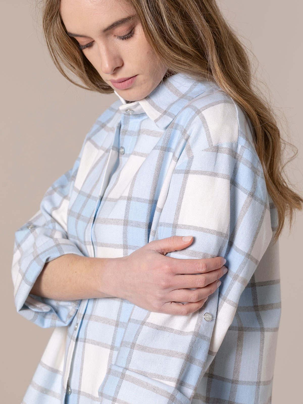 Camisa mujer cuadros con bolsillo Azul