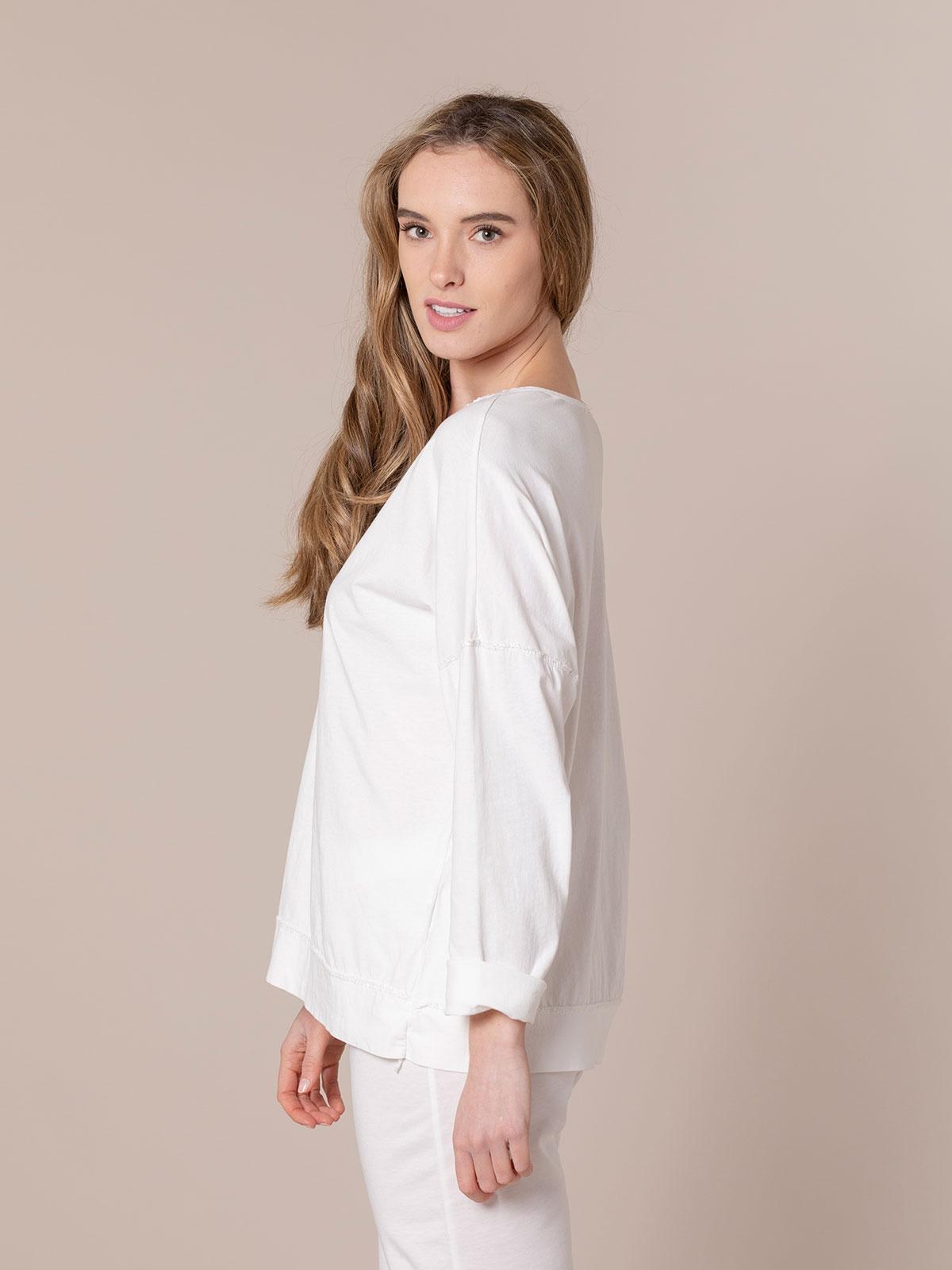 Camiseta mujer algodón detalle crochet Blanco