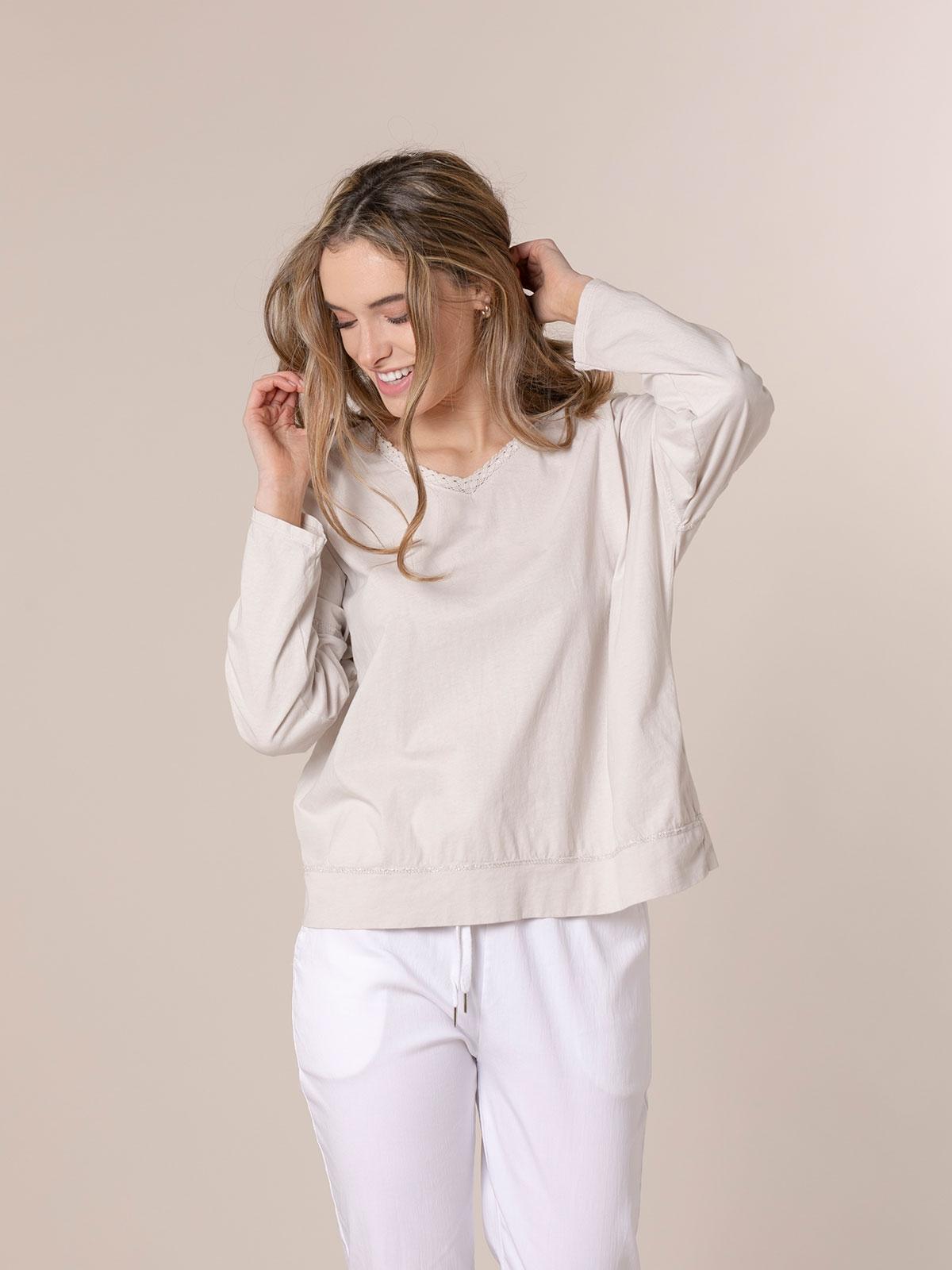 Woman Crochet detail cotton T-shirt Beige