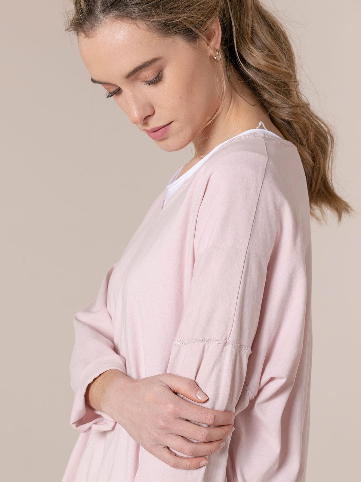 Camiseta mujer algodón detalle crochet Rosa