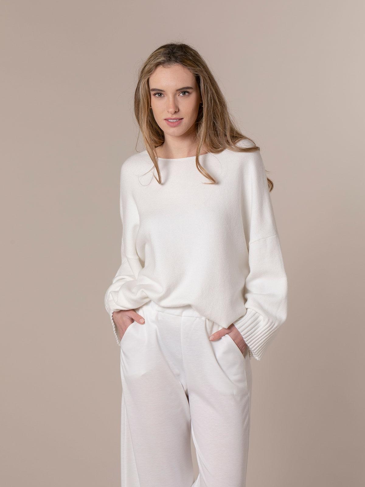 Jersey mujer oversize punto soft Blanco