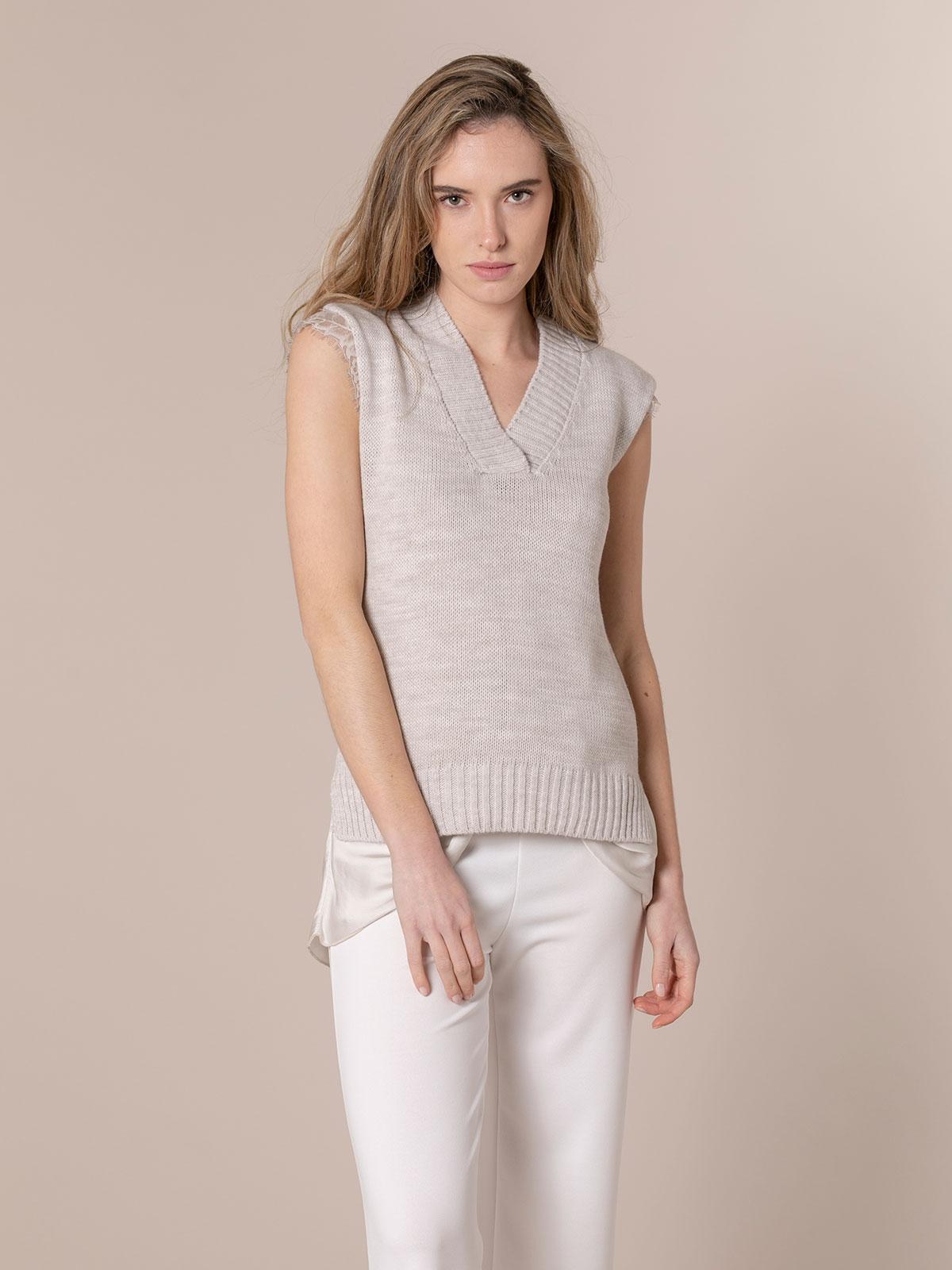 Woman Sport knit vest Beige