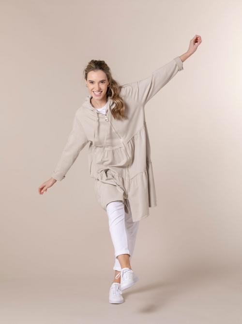Woman Long zip-up hoodie Beige