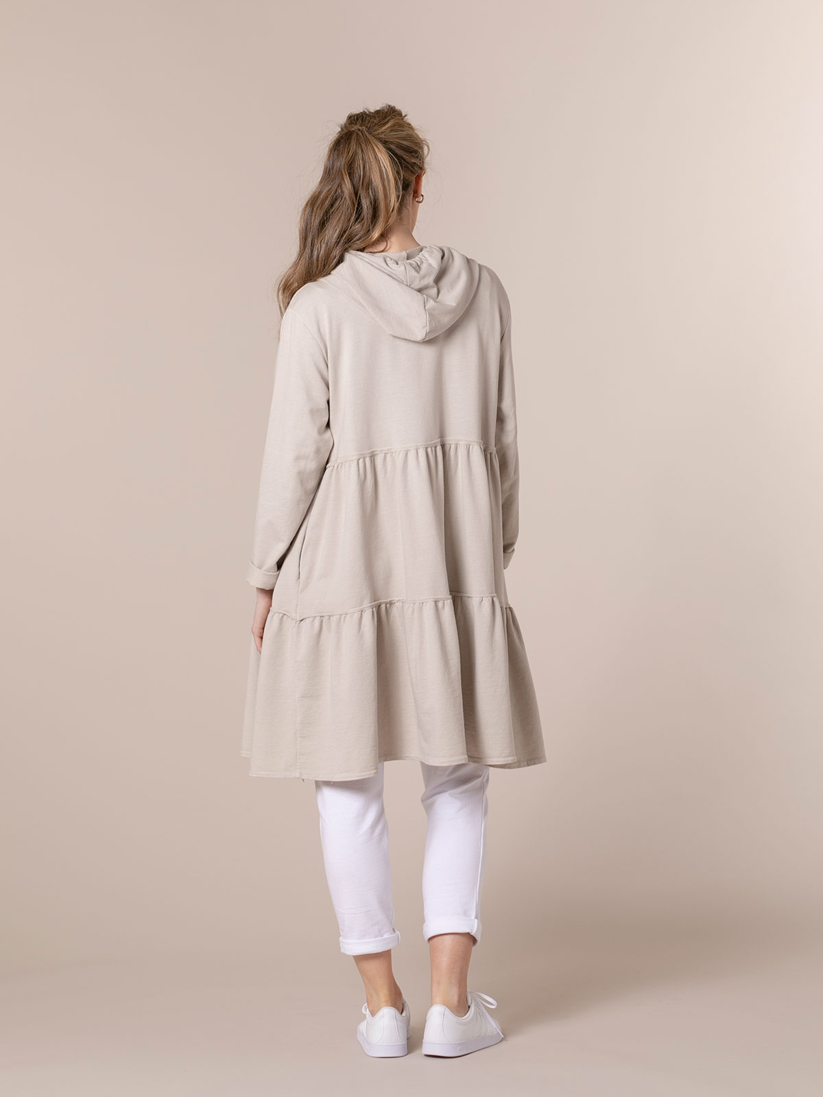 Woman Long zip-up hoodie Beige