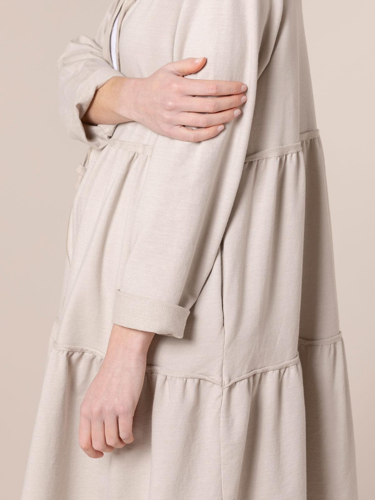 Sudadera mujer larga capucha y cremallera Beige