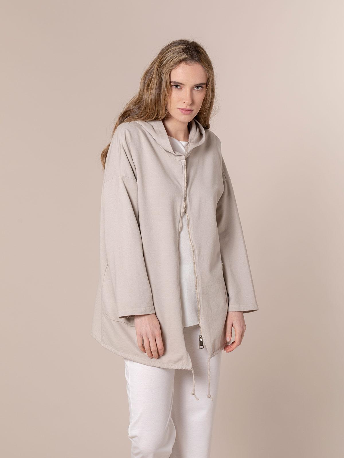 Woman Zip-up sweatshirt with pockets Beige