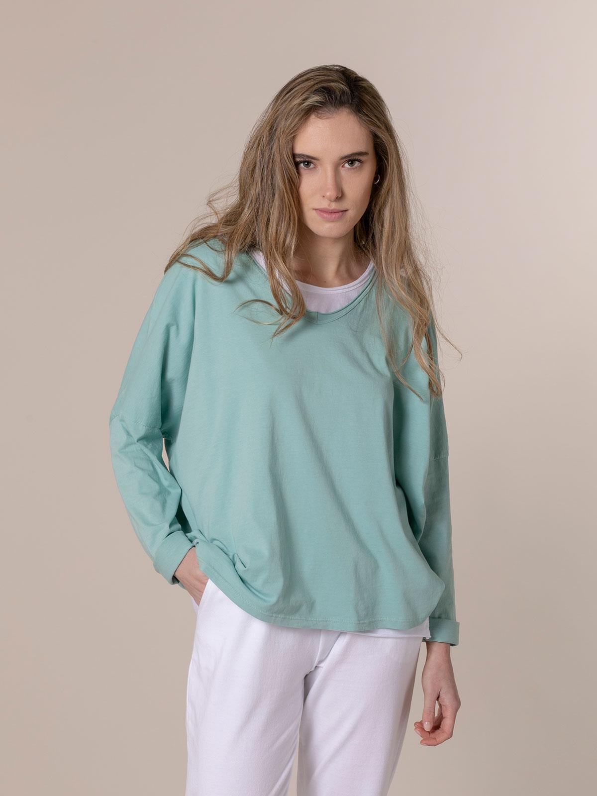Camiseta mujer algodón lisa cuello pico Aqua