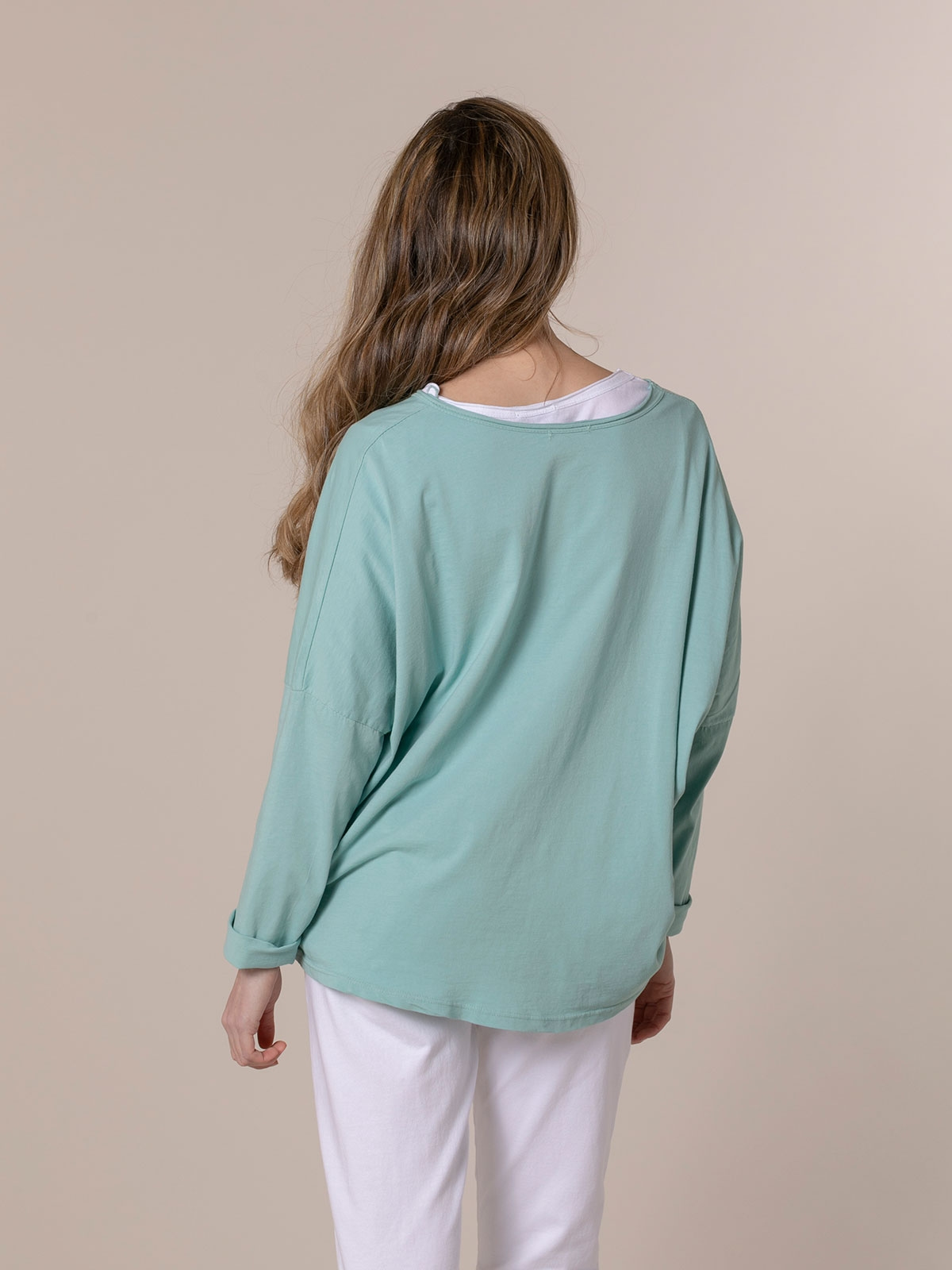 Woman Plain cotton V-neck T-shirt Aqua