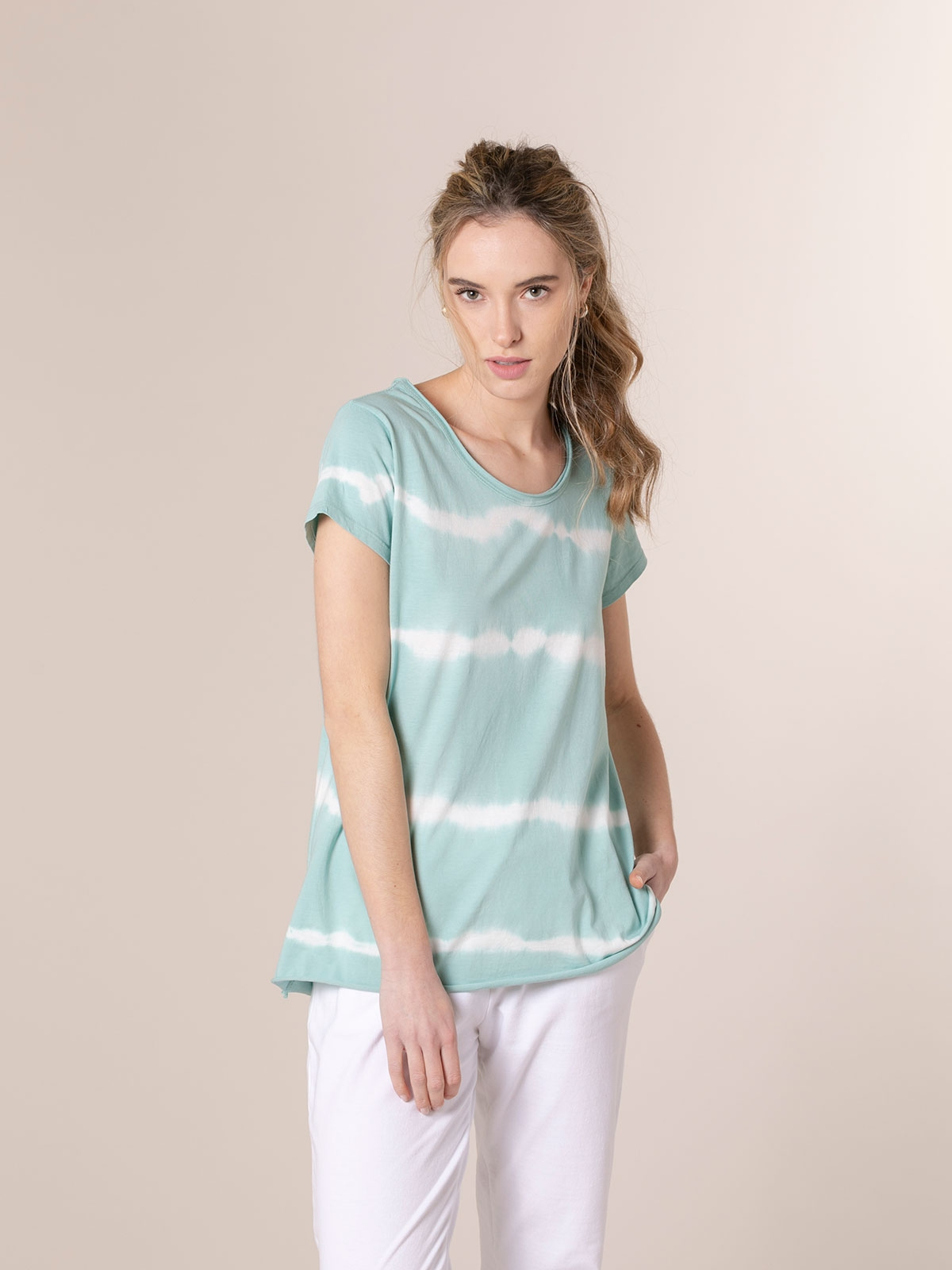 Woman Short sleeve tie & dye T-shirt Aqua