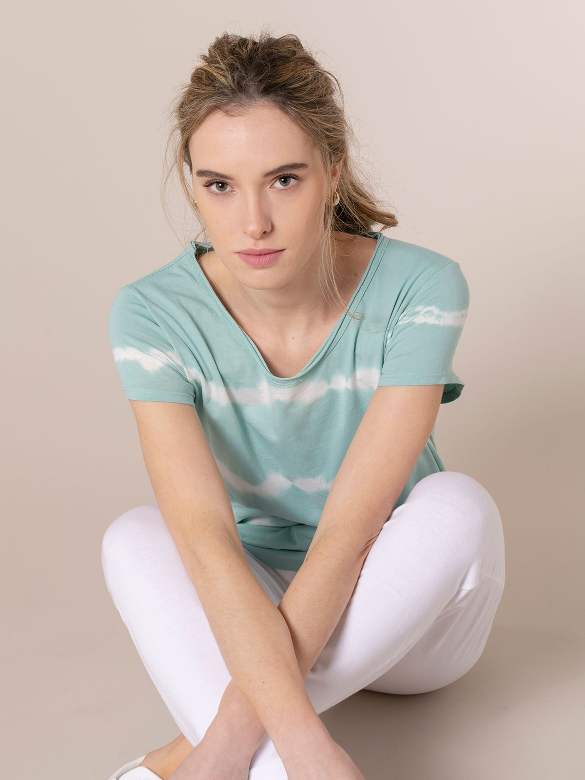 Camiseta mujer tie & dye manga corta Aqua