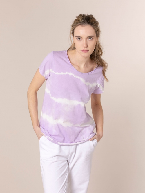 Camiseta mujer tie & dye manga corta Lila