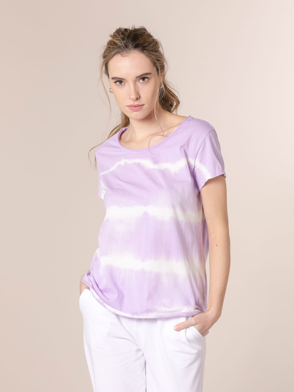 Woman Short sleeve tie & dye T-shirt Lila