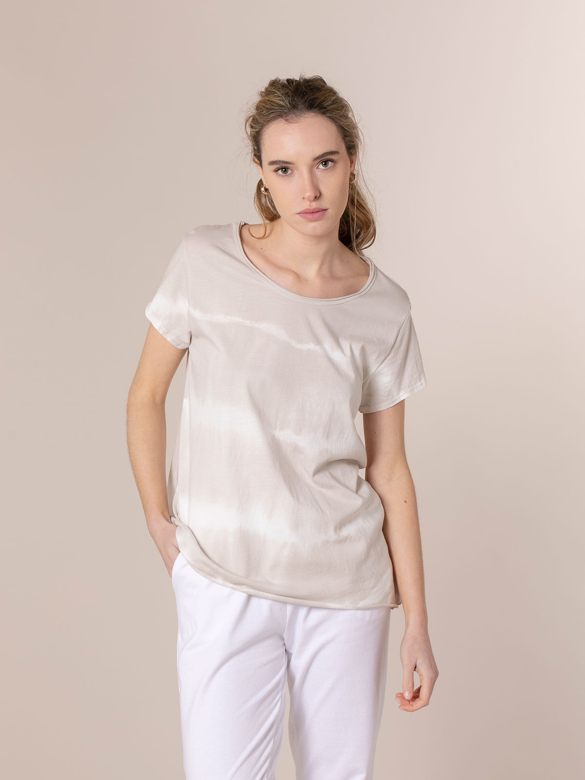 Camiseta mujer tie & dye manga corta Beige